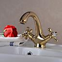 tanie Sprzęt łazienkowy-Łazienka kran zlew - Obrotowa Ti-PVD Umieszczona centralnie Jeden otwór / Dwa uchwyty One Hole