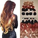 cheap Tape in Hair Extensions-Brazilian Hair Wavy / Body Wave Human Hair Ombre Human Hair Weaves Human Hair Extensions