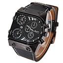 cheap Military Watches-Oulm Men's Quartz Japanese Quartz Wrist Watch Military Watch Dual Time Zones Leather Band Charm Black