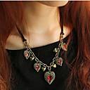 preiswerte LED Glühbirnen-Damen Kristall Y Halskette - Krystall, Leder Blume Rot Modische Halsketten Für Party, Party / Abend, Alltag
