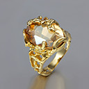 cheap Rings-Women's Solitaire Oval Cut Statement Ring Gold Plated 18K Gold Cocktail Ring Ladies Unusual Unique Design Fashion Ring Jewelry For Wedding Party Gift Daily Casual 6 / 7 / 8 / 9 / Cubic Zirconia
