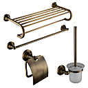 cheap Shower Faucets-Bathroom Accessory Set Contemporary Brass 4pcs - Hotel bath Toilet Brush Holder / tower bar / Toilet Paper Holders