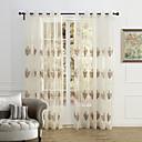 preiswerte Gardinen-Schlaufen für Gardinenstange Ösen Schlaufen Zweifach gefaltet zwei Panele Window Treatment Landhaus Stil, Stickerei Schlafzimmer Polyester