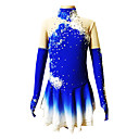 cheap Ice Skating Dresses , Pants & Jackets-Figure Skating Dress Women's / Girls' Ice Skating Dress Blue Spandex Rhinestone / Appliques Performance Skating Wear Handmade Floral /