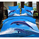 cheap 3D Duvet Covers-Duvet Cover Sets 3D 4 Piece Polyester Reactive Print Polyester 4pcs (1 Duvet Cover, 1 Flat Sheet, 2 Shams)