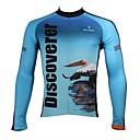 ieftine Jerseru Cycling-ILPALADINO Bărbați Manșon Lung Jerseu Cycling - Alb+Albastru Celest Animal Bicicletă Jerseu, Uscare rapidă, Rezistent la Ultraviolete,