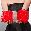 baratos Clutches & Bolsas de Noite-Mulheres Bolsas Cetim Bolsa de Festa Ziper Fúcsia / Vermelho / Amêndoa