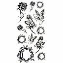 baratos Tatuagens Temporárias-Séries Flores Tatuagem Adesiva - Estampado/Waterproof - para Feminino/Girl/Adulto/Adolescente - de Papel - Multicolorido - #(18.5*8.5)