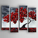 cheap Floral/Botanical Paintings-Oil Painting Hand Painted - Floral / Botanical Canvas Four Panels