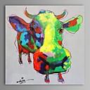 levne POP Art-Hang-malované olejomalba Ručně malované - Pop Art Současný styl Plátno