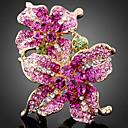 halpa Muotisormukset-Naisten Statement Ring Cubic Zirkonia Flower Suuri naiset Muoti Muotisormukset Korut Ruudun väri Käyttötarkoitus Party Yksi koko