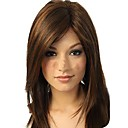 cheap Earrings-women s natural fashional medium dark brown straight hair wigs