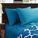 cheap Sheet Sets & Pillowcases-Sheet Set - Microfibre Reactive Print Solid Colored 1pc Flat Sheet 1pc Fitted Sheet 2pcs Pillowcases (only 1pc pillowcase for Twin or