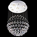 abordables Luz Ambiente LED-iluminación araña de cristal llevado 5 luces de plata moderna canpoy redonda de cristal k9 transparente accesorios salón