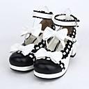 preiswerte Lolita Schuhware-Schuhe Niedlich Lolita Stöckelschuh Schuhe Schleife 4.5 cm CM Schwarz Für PU - Leder / Polyurethan Leder Halloween Kostüme