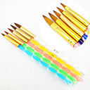 cheap Nail Brushes-5PCS 5 Colors Sizes 2-way Professional UV Gel Brush Set Acrylic Nail Art Painting Draw Brush