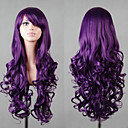 cheap Synthetic Capless Wigs-Synthetic Wig Curly / Loose Wave / Natural Wave Asymmetrical Haircut / With Bangs Synthetic Hair 25 inch Natural Hairline Purple Wig Women's Long Capless Violet