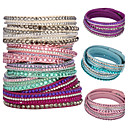 cheap Jewelry Sets-Women's Crystal Layered Wrap Bracelet - Crystal, Leather Unique Design, Basic, Fashion Bracelet Pink / Light Blue / Light Green For Christmas Gifts / Party / Daily