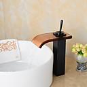 baratos Torneiras de Banheiro-Moderna Pia Cascata Válvula Cerâmica Uma Abertura Monocomando e Uma Abertura Bronze Polido a Óleo