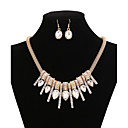 cheap Necklaces-Women's Crystal Long Jewelry Set / Statement Necklace - Cubic Zirconia, Gold Plated Luxury Gold Necklace For Party