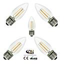 preiswerte LED Glühbirnen-ONDENN 5 Stück 2800-3200 lm E26/E27 LED Glühlampen C35 4 Leds COB Abblendbar Warmes Weiß Wechselstrom 110-130V Wechselstrom 220-240V