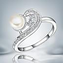 preiswerte Moderinge-Damen Kristall Perle Sterling Silber Silber Bandring - Quaste Retro Niedlich Party Büro Freizeit Modisch Silber Ring Für Hochzeit Party
