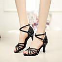 olcso Jelmez paróka-Női Latin cipők Szatén Szandál Glitter Tűsarok Személyre szabható Dance Shoes Fekete / Arany