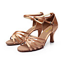 cheap Latin Shoes-Women's Latin Shoes / Ballroom Shoes / Salsa Shoes PU Leather / Satin Sandal Buckle Customized Heel Customizable Dance Shoes Silver / Brown / Gold