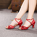 cheap Latin Shoes-Women's Latin Shoes Paillette / Satin Sandal Sequin / Buckle Cuban Heel Non Customizable Dance Shoes Red / Silver / Gold / Indoor / Leather / Practice / Professional
