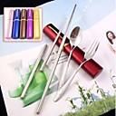 ieftine Veselă-3in1 protable inoxidabil betisoarele oțel furculita set lingură