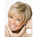 preiswerte Synthetische Perücken ohne Kappe-Synthetische Perücken Damen Glatt Blond Asymmetrischer Haarschnitt Synthetische Haare Natürlicher Haaransatz Blond Perücke Kurz Kappenlos Braun