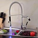 halpa Hammasharjatelineet-Kitchen Faucet - Yksi reikä Kromi Ulosvedettävä / pull-down Pöytäasennus Nykyaikainen / Messinki / Yksi kahva yksi reikä
