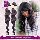 baratos Utensílios para Biscoitos-3 pacotes Cabelo Brasileiro Clássico / Ondulação Larga Cabelo Virgem Cabelo Humano Ondulado Tramas de cabelo humano Extensões de cabelo humano