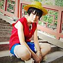 halpa Anime-somisteet-Innoittamana One Piece Monkey D. Luffy Anime Cosplay-asut Cosplay Puvut Patchwork Hihaton Liivi / Shortsit Käyttötarkoitus Miesten Halloween-asut