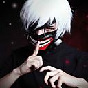 abordables Pelucas Cosplay-Tokyo Ghoul Ken Kaneki Hombre 12 pulgada Fibra resistente al calor Plata Animé Pelucas de Cosplay