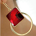 hesapli Moda Küpeler-Kadın's Kübik Zirconia Altın Kaplama Damla Küpeler - Halk Stili Ekran Rengi Dörtgen Geometric Shape Küpeler Uyumluluk