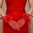 cheap Party Headpieces-Net / Cotton Wrist Length / Elbow Length Glove Charm / Stylish / Bridal Gloves With Embroidery / Solid
