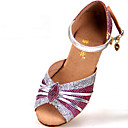 cheap Latin Shoes-Latin Shoes Paillette Sandal Buckle Chunky Heel Non Customizable Dance Shoes Silver / Blue / Gold / Indoor / Leather