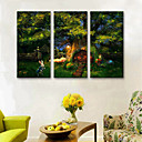 cheap Prints-E-HOME® Stretched LED Canvas Print Art Forest Tree House And Rabbit LED Flashing Optical Fiber Print Set of 3