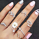 cheap Rings-Women's Stackable Knuckle Ring / Rings Set - Rhinestone, Imitation Diamond, Alloy Leaf, Flower Basic, Fashion One Size Gold / Silver For Party / Daily / Casual / 3pcs