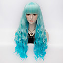 cheap Necklaces-Synthetic Wig Kinky Curly With Bangs Synthetic Hair Blue Wig Women's Very Long