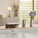 billige Badekraner-Badekarskran - Moderne Nikkel Børstet Badekar Og Dusj Keramisk Ventil Bath Shower Mixer Taps / Messing / Enkelt håndtak tre hull