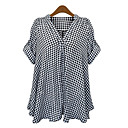 cheap Bracelets-Women's Classic & Timeless / Chic & Modern Batwing Sleeve Cotton Loose Shirt - Check / Mixed Color Print V Neck / Summer