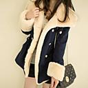 baratos Bolsas Tote-Mulheres Casaco Básico - Estampa Colorida Detalhes em Pêlo