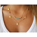 cheap Necklaces-Women's Turquoise Beaded Pendant Necklace / Layered Necklace - Turquoise Double-layer Golden Necklace For Wedding, Party, Daily