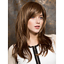 cheap Synthetic Capless Wigs-Synthetic Wig Straight Brown Layered Haircut / With Bangs Brown Synthetic Hair Women's Side Part Brown Wig Medium Length Capless