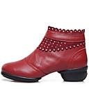 baratos Tênis de Dança-Mulheres Tênis de Dança Couro Botas / Meia Solas Ziper Salto Baixo Não Personalizável Sapatos de Dança Preto / Vermelho