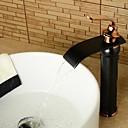 baratos Torneiras de Banheiro-Torneira pia do banheiro - Cascata Bronze Polido a Óleo Conjunto Central Uma Abertura / Monocomando e Uma AberturaBath Taps