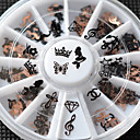 cheap Keychains-new 12designs 3d metal christmas nail art decoration slice black nail sticker decal wheel