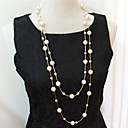 cheap Necklaces-Women's Layered Strands Necklace / Layered Necklace / Pearl Necklace - Pearl, Imitation Pearl Multi Layer Silver, Golden Necklace For Wedding, Party, Daily / Casual